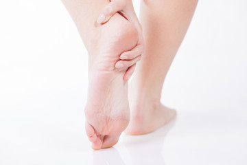 Foot heel pain, Woman's problem concept