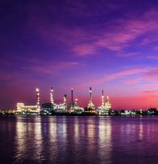Oil refinery plant at twilight morning