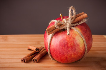 Red apple with cinnamon