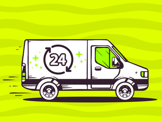 Vector illustration of van free and fast delivering 24 hours to