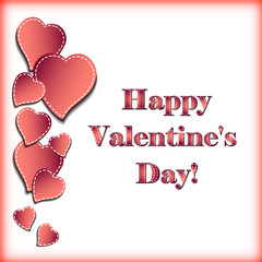 Festive card with hearts on white background for Valentine's day