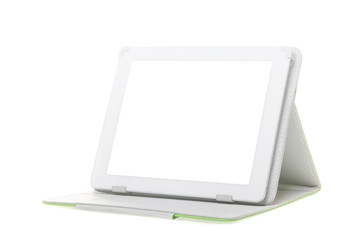 Tablet computer with stand on a white background.