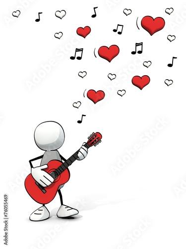 Leinwanddruck Bild little sketchy man playing guitar - lovesong