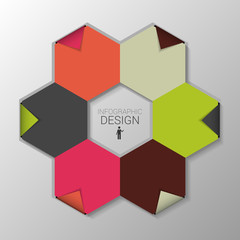 Infographic with hexagon. Business template. Vector