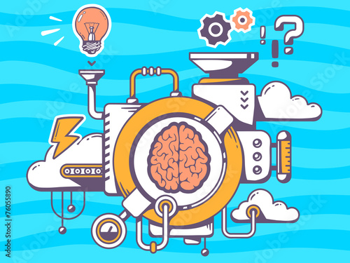 Vector illustration of mechanism to research brain and relevant - 76055890