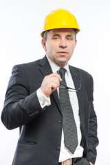 construction worker in a helmet and goggles