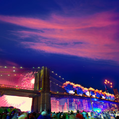 July 4th 2014 fireworks Brooklyn bridge Manhattan