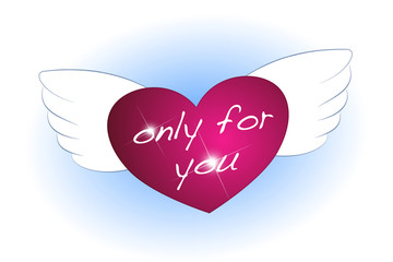Pink heart with wings and blue shimmer - only for you