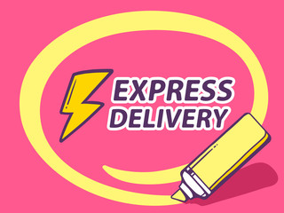 Vector illustration of marker drawing circle around express deli