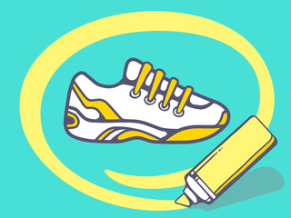 Vector illustration of marker drawing circle around sneaker on g