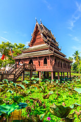 Thai art pavilion building in pond