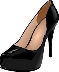 Черная женская туфелька
