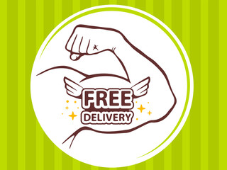 Vector illustration of strong man hand with  icon of free delive