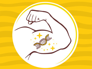Vector illustration of strong man hand with  icon of dna molecul