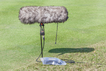 Close-up the professional sport microphone and set situated on t