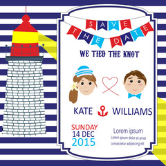 Navy style with light house wedding invitation