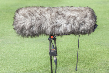 Close-up the professional sport microphone situated on the green