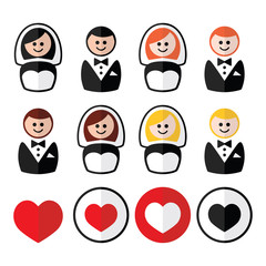 Groom and bride, wedding icons - black, blonde, ginger hair