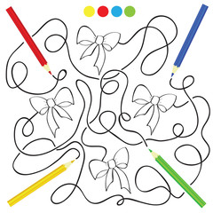 maze game and coloring activity page for kids