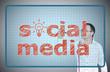 businessman drawing social media