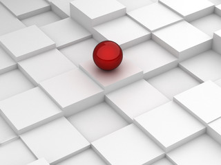 Abstract background of 3d blocks and red sphere