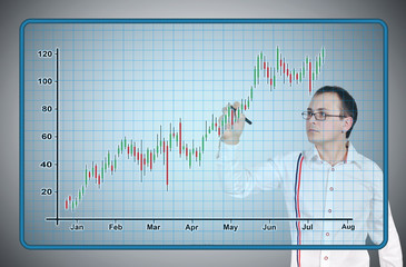 businessman drawing candle chart