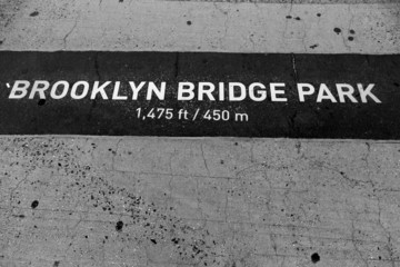 Brooklyn bridge Park signl painted on floor in NY
