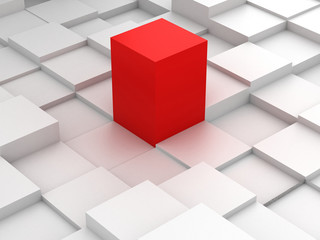 Abstract background of 3d blocks and red cube