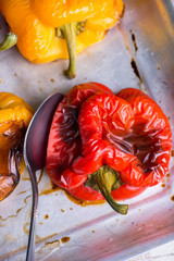 Fresh roasted red and yellow peppers
