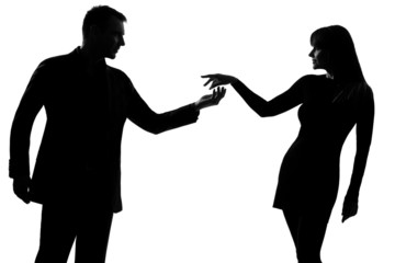 one couple man holding out inviting hand in hand woman silhouett