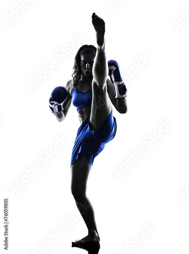 woman boxer boxing kickboxing silhouette isolated - 76059805