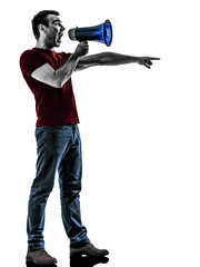 man with megaphone  silhouette