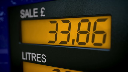 UK petrol pump display starts fueling at 30 pounds
