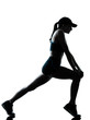 woman runner jogger stretching warm up silhouette