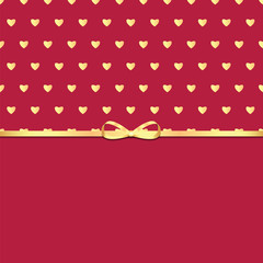 Background with golden hearts and ribbon for Valentine's day