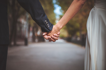 couple holding hand together in park