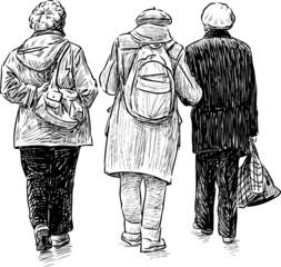 elderly women on a walk