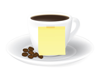 Cup of coffee and Sticky notes