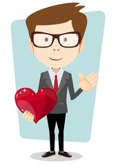 Businessman and Red Heart, Vector Illustration