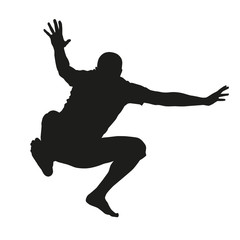 Vector silhouette of jumping man