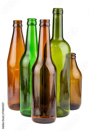Green and brown empty bottles - 76063037