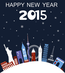 Happy New Year Travel card. Vector