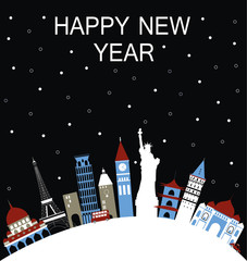 New Year travel background. Vector