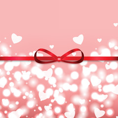 Background with  hearts and ribbon for Valentine's day