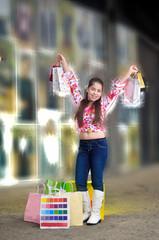 Teenage girl on a shopping spree