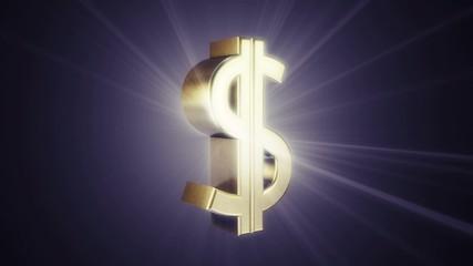 Metal dollar sign is rotating slowly, endless loop