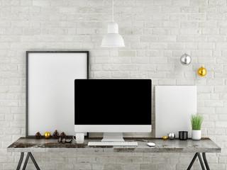 Mock up desk office, 3d illustration