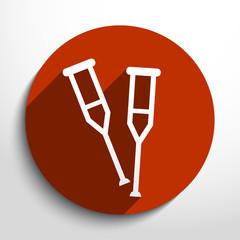 Vector crutch flat icon.