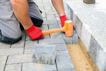 Creating a pavement. Close up.