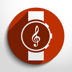 Vector music watch web icon.